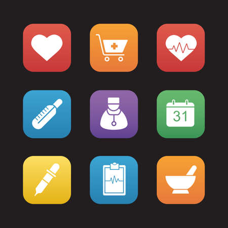 pharmacy store: Medical flat design icons set. Hospital cardiology center. Cardiogram, heartbeat and heart symbols. Pharmacy store items. Thermometer, pipette and homeopathy signs. Web application interface. Vector