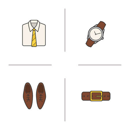 dress code: Mens accessories color icons set. White collar shirt with tie, wristwatch, leather belt and classic shoes. Menswear fashion items. Office dress code. Logo concepts. Vector isolated illustrations