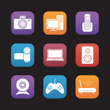 consumer electronics: Consumer electronics flat design icons set. Desktop digital devices. Pc with monitor and laptop, video and photo camera. Wifi router and gamepad. Web application graphic interface buttons. Vector Illustration