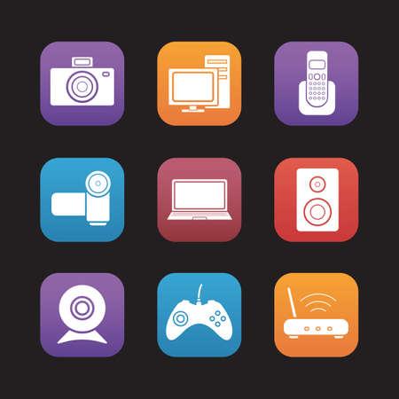 Unterhaltungselektronik flache Design-Icons gesetzt. Desktop-digitale Geräte. PC mit Monitor und Laptop, Video- und Fotokamera. Wifi-Router und Gamepad. Web-Anwendung grafische Oberfläche Tasten. Vektor