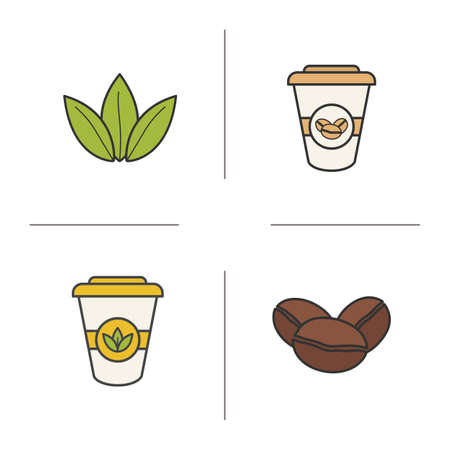 green tea leaves: Tea and coffee color icons set. Roasted coffee beans, green tea leaves and disposable paper cups symbols. Coffee to go sign. Hot drinks logo concepts. Vector isolated illustrations Illustration