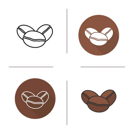 roaster: Coffee beans flat design, linear and color icons set. Roaster coffee grains in different styles. Contour and long shadow logo concepts. Isolated vector illustrations Illustration