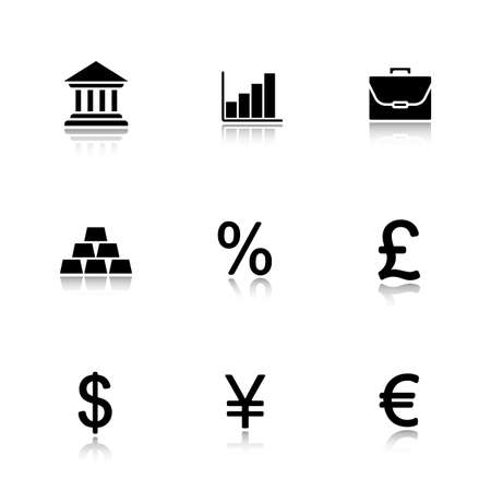 currency symbols: Bank drop shadow icons set. Dollar, yen, euro and gbp currency symbols. Investment market and forex money trading. Gold bars and business portfolio. Online banking. Logo concepts. Vector illustrations