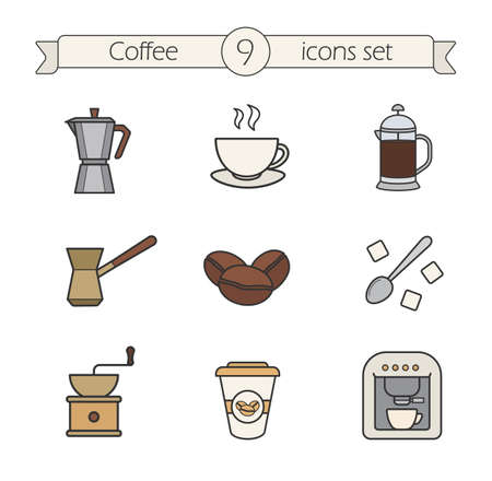 coffeepot: Coffee color icons set. Moka pot, cezve, spoon with sugar and steaming cup. Roasted coffee beans and french press. Espresso machine and coffee to go. Logo concepts. Vector isolated illustrations