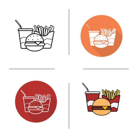 cold drink: Fast food flat design, linear and color icons set. Hamburger, french fries and cold drink symbols. Junk food items. Contour and long shadow logo concepts. Isolated vector illustrations
