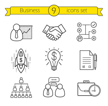 line drawings: Business linear icons set. Teamwork, company hierarchy and work management thin line illustrations. Presentation with graph, signed contract and handshake symbols. Vector isolated outline drawings