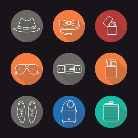 cigarette pack: Mens accessories flat linear long shadow icons set. Tuxedo butterfly tie and sunglasses. Homburg hat, alcohol flask, cigarette pack and flip lighter. Outline logo concepts. Vector line illustrations