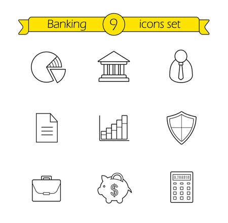 line drawings: Banking and finance linear icons set. Online banking customer service contour icons. Bank building, money saving piggy bank and income diagram thin line illustrations. Vector isolated outline drawings Illustration