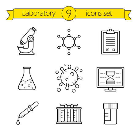 line drawings: Laboratory tools linear icons set. Thin line research lab equipment illustrations. Scientific, pharmaceutical and medical lab appliance contour symbol. Vector isolated outline drawings