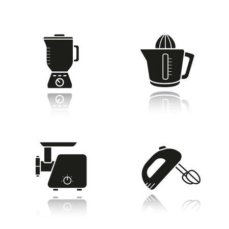 meat chopper: Kitchen tools drop shadow black icons set. Logo concepts. Multi speed blender, meat-mincer, hand mixer and juicer symbols. Kitchenware electronic items. Cooking equipment. Vector illustrations