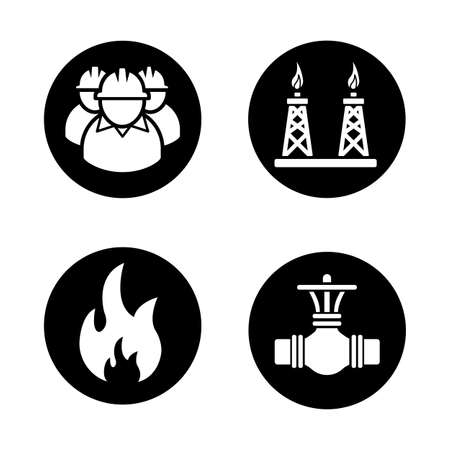 industrial workers: Gas industry black icons set. Industrial workers, pipeline valve, flammable sign, gas platform. White silhouettes illustrations. Vector logo concepts