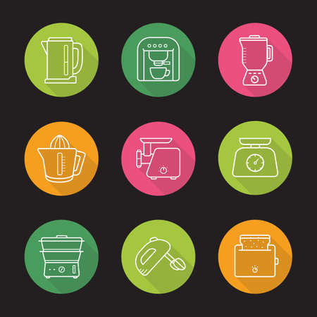 kitchen tools: Household appliances flat linear icons set. Cooking kitchen tools. Toaster, steamer and electric meat grinder. Long shadow outline logo concepts. Line art illustrations on color circles. Vector