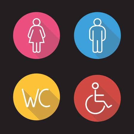 WC señales de entrada aseo. Iconos de largas sombras lineales planas. El hombre y la silueta de la mujer y los símbolos de personas discapacitadas. iconos puerta del baño. Esbozar conceptos logo. Ilustraciones línea vector