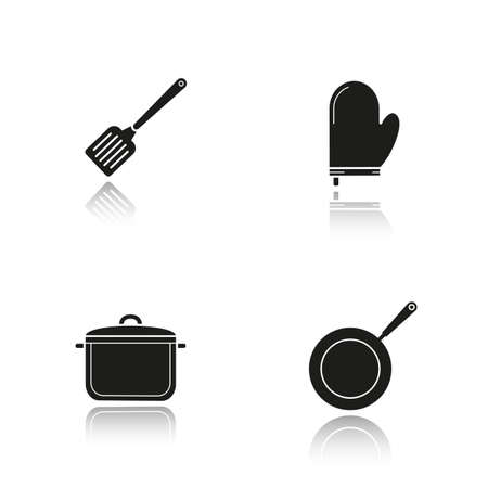kitchen tools: Kitchenware drop shadow black icons set. Logo concepts. Vector illustrations. Steel spatula, oven glove, stew pot and frying pan. Kitchen tools items. Cooking equipment. Cuisine instruments