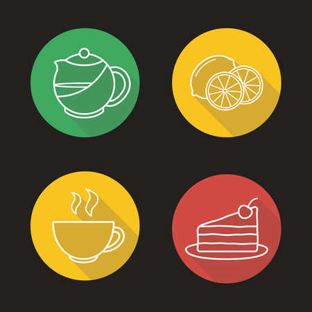 Tea flat linear long shadow icons set. Teapot infuser, steaming teacup, sliced lemon and piece of cake symbols. Cafe hot drinks menu items. Outline logo concepts. Vector line art illustrations Illustration