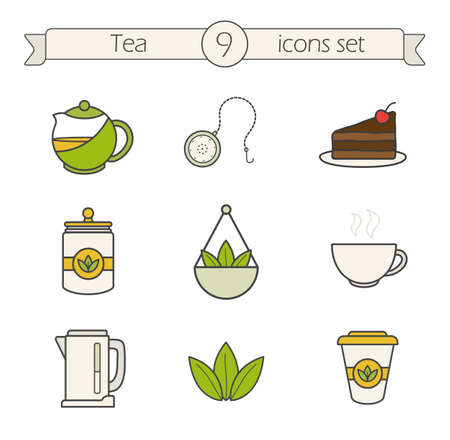 Tea icons set. Color. Tea shop items. Teapot ball infuser, chocolate cake, loose tea leaves and disposable paper cup. Electric kettle and steaming teacup. Logo concepts. Vector isolated illustrations Illustration
