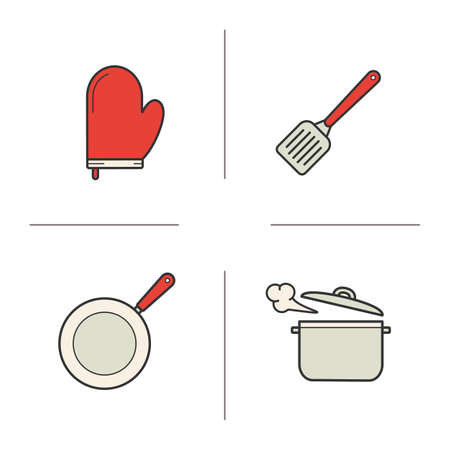 pot holder: Kitchenware realistic color icons set. Steel spatula, oven glove, steaming stew pot and frying pan. Kitchen tools items. Cooking equipment. Logo concepts. Vector isolated illustrations