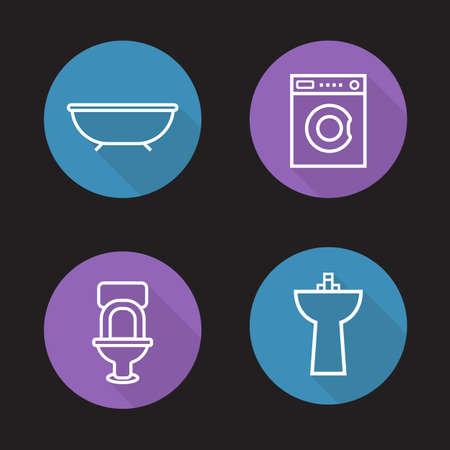 bath room: Bathroom flat linear icons set. Bath, washing machine, toilet and ceramic sink. Washroom interior. Long shadow outline logo concepts. Vector line art illustrations Illustration