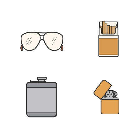cigarette pack: Mens accessories color icons set. Alcohol hip flask, open cigarette pack, sunglasses and flip lighter symbols. Everyday carry men items. Logo concepts. Vector isolated illustrations