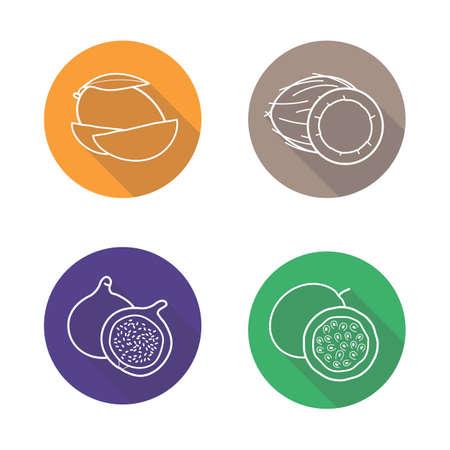 mango slice: Tropical fruits flat linear long shadow icons set. Mango slice, coconut half, fig and passion fruit  symbols. Outline logo concepts. Vector line art illustrations