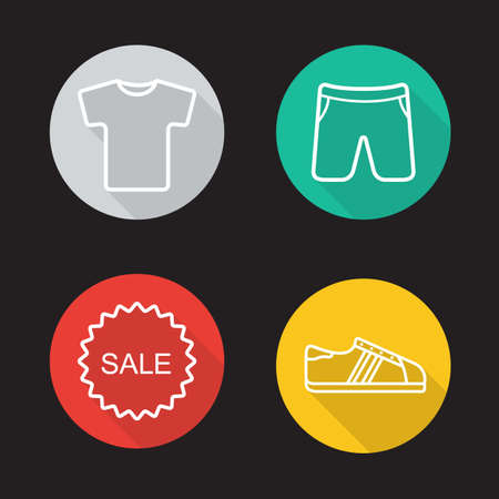 sportswear: Sportswear flat linear long shadow icons set. T-shirt, shorts, sneakers and sale badge symbols. Sport clothes and shoes. Web store items. Outline logo concepts. Vector line art illustrations Illustration