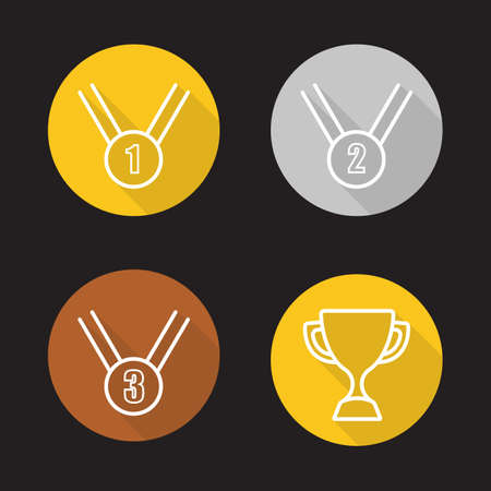 award ceremony: Competition rewards flat linear long shadow icons set. Winner cup, gold, silver and bronze medals. Sport games award ceremony items. Outline logo concepts. Vector line art illustrations