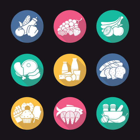 fillet: Grocery store items flat design long shadow icons set. Everyday products. Raw meat, fish fillet, milk, berries and vegetables symbols.Sliced bread and spices. Logo concepts. Vector illustrations Illustration