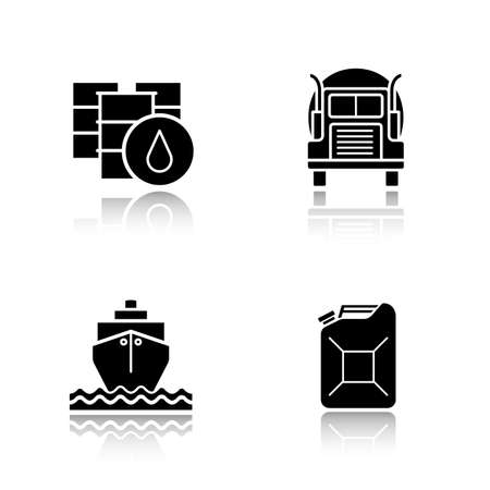 tank ship: Oil industry black icons set. Barrel and petroleum jerrycan, oil shipping truck and tanker symbols. Logo concepts. Vector illustrations