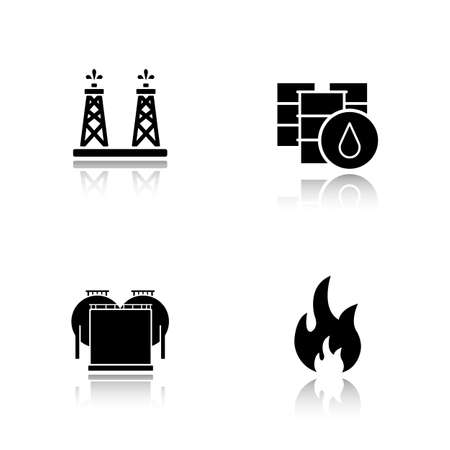 oil industry: Oil industry drop shadow black icons set. Oil drilling tower, barrel, oil storage, flammable sign. Logo concepts. Vector illustrations