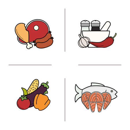 categories: Food color icons set. Grocery store food products categories. Raw meat, vegetables, salmon fish fillet and different spices. Diet nutrition symbols. Logo concepts.Vector isolated illustrations