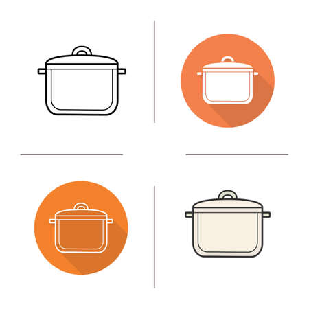 stew pot: Stew pot flat design, linear and color icons set. Kitchen tool. Cooking equipment. Cuisine instrument. Contour and long shadow logo concepts. Isolated vector illustrations