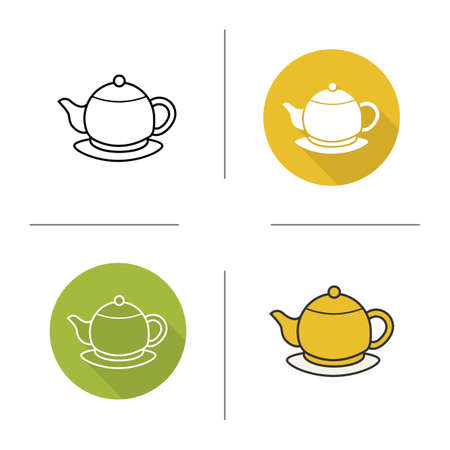 yellow tea pot: Tea pot flat design, linear and color icons set. Yellow teapot on plate symbols. Contour and long shadow logo concepts. Isolated vector illustartions