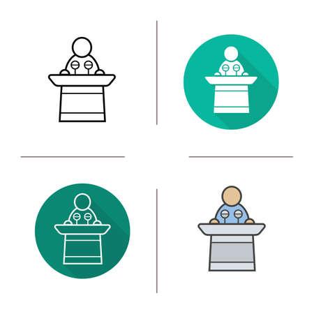 press conference: Speaker flat design, linear and color icons set. Political orator press conference symbol. Isolated business conference speaker vector illustrations Illustration