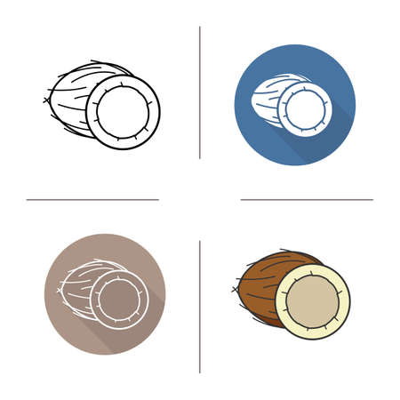 halved: Coconut flat design, linear and color icons set. Halved coconut in different styles. Tropical fruit.