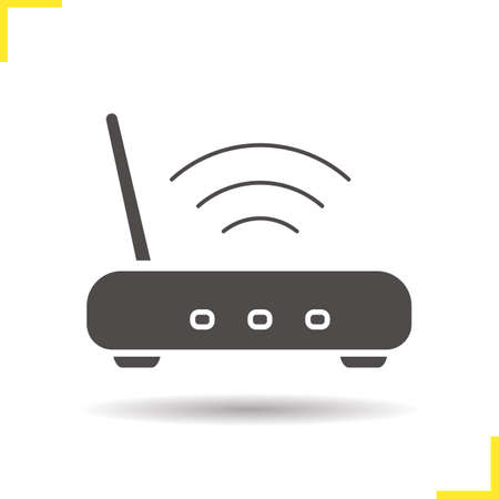 wi fi icon: Wi fi icon. Drop shadow wi fi router icon. Wireless internet access device. Isolated wifi black illustration. Illustration