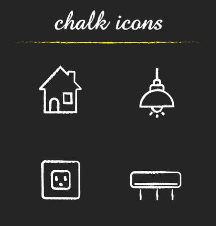 air power: Home interior chalk icons set. Air conditioner, power rosette and illuminated ceiling lamp. Modern house interior electricity items. White illustrations on blackboard.