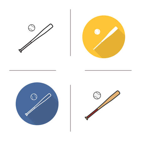 bunt: Baseball bat and ball flat design, linear and color icons set. Baseball equipment in different styles.