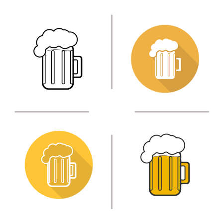 alcoholic drink: Glass of beer flat design, linear and color icons set. Pint of foamy lager. Mug of alcoholic beverage. Alcoholic drink. Illustration