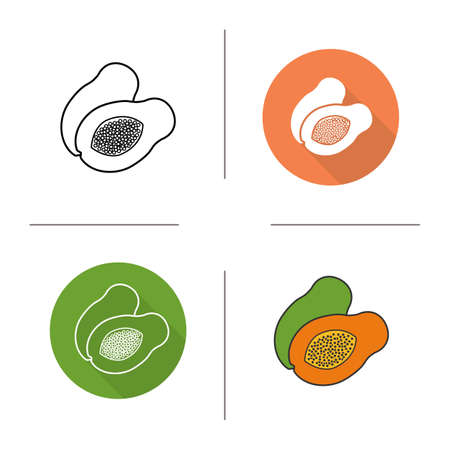 halved: Papaya flat design, linear and color icons set. Pawpaw in different styles. Sliced papaya icons. Tropical fruit. Long shadow concept. Papaya isolated vector illustrations. Infographic elements