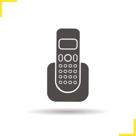 wireless communication: Telephone icon. Drop shadow phone icon. Modern wireless communication device. Isolated telephone black illustration.