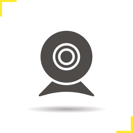 Webcam icon. Drop shadow web camera icon. Modern portable computer device. Isolated webcam black illustration. Vector Illustration