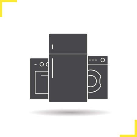 black appliances: Appliances icon. Drop shadow appliances icon. Electric cooker, refrigeraor and washing machine. Isolated black appliances illustration.