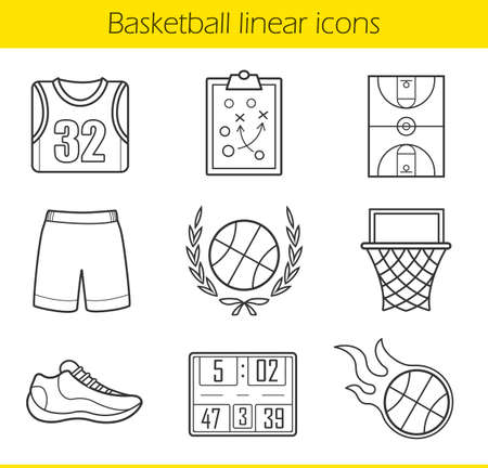 line drawings: Basketball linear icons set. Basketball uniform, burning ball and scoreboard. Basketball field, hoop and sneaker. Basketball equipment. Thin line illustrations. Vector isolated outline drawings Illustration