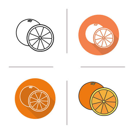 halved: Orange flat design, linear and color icons set. Orange in different styles. Halved orange icons. Tropical citrus fruit. Long shadow concept. Isolated vector illustrations. Infographic elements