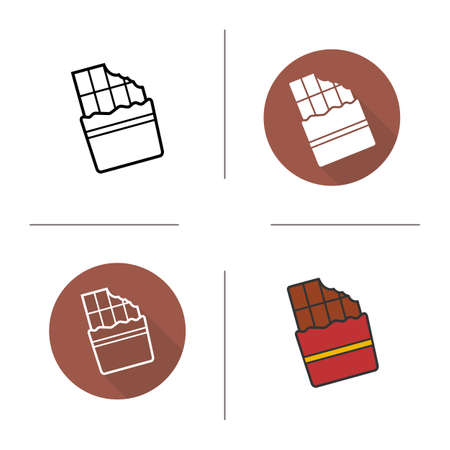 Chocolate bar flat design, linear and color icons set. Wrapped bitten sweet chocolate bar. Confectionery product. Long shadow concept. Isolated chocolate vector illustration. Infographic elements