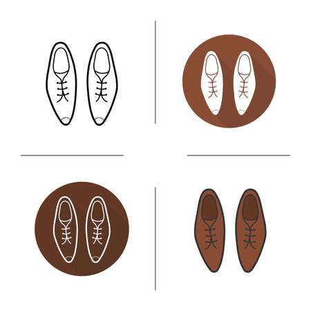 shoelaces: Men shoes flat design, linear and color icons set. Brown classical footwear with shoelaces. Leather varhished shoes. Long shadow logo concepts. Isolated vector illustrations. Infographic elements