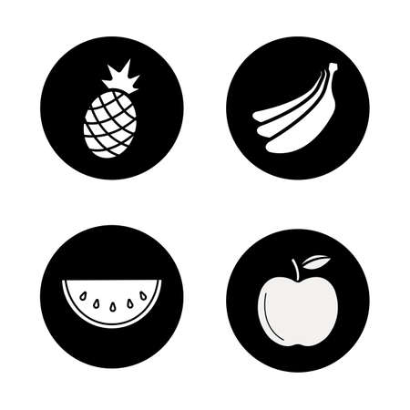 Fruit black icons set. Fresh pineapple and banana bunch. Sliced watermelon with seed and ripe apple. Exotic and garden sweet fruit. White silhouettes illustrations. Vector concepts