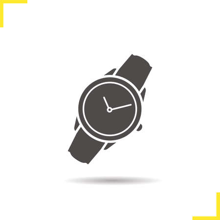 classic woman: Wristwatch icon. Drop shadow watch icon. Man and woman accessory. Classic wrist watch. Isolated wristwatch black illustration. watch concept. Vector silhouette wrist watch symbol