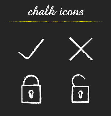 incorrect: File access chalk icons set. Accept and refuse symbols. Lock, unlock, approve, decline signs. Correct and incorrect symbols icons. White illustrations on blackboard. Vector concepts