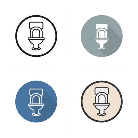 flush toilet: Toilet flat design, linear and color icons set. Lavatory pan. Restroom flush toilet. Sanitation fixture. Long shadow concept. Wc toilet isolated vector illustrations. Infographic elements Illustration